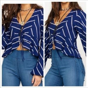Free People Cropped Striped Blouse